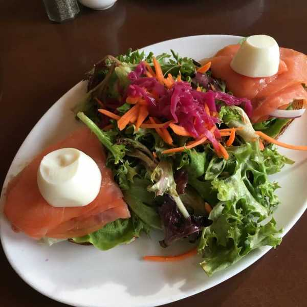 Salmon on toast and salad